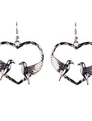 cœur de la mode avec 2 oiseaux boucles d'oreilles
