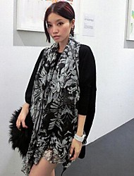 Women's New Black And White Angel Wings Long Chiffon Scarf