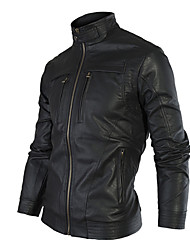 X-MAN Men's Double Zipper Stand Collar Jacket