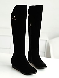 Women's Shoes Round Toe Wedge Heel Knee High Boots with Zipper