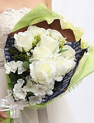 Elegant Organza/ Satin With Imitation Pearl Round Wedding Bouquet /Bridal Bouquet
