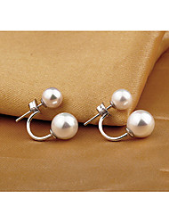 Weimei Women's Elegant Simplicity Pearl Silver Earrings