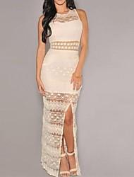 Women's Cream Crochet Accent Lace Evening Maxi Dress
