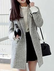 Women's Lapel Slim Woolen Double Breasted Winter Coat Outerwear