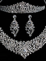 Elegant Alloy With Rhinestone Wedding Jewelry Set (Including Tiara,Necklace And Earrings)