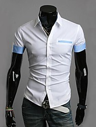 Men's Solid Casual / Work Shirt,Cotton Short Sleeve Blue / White
