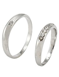 Fashion Rhinestone Couple Rings Random Size