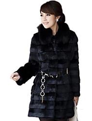 моды элегантный искусственного меха чистый цвет длинный рукав coat_142