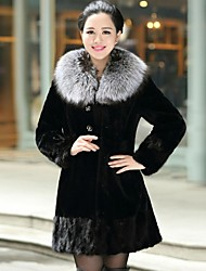 Zijindiao® Women's Genuine Natural Mink Fur Splicing Rex Rabbit Fur Coat with Silver Fox Fur Collar