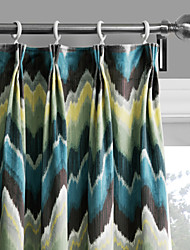Philips Young - Two Panels Contemporary Abstract Ink Painting Style Chevron Curtains Drapes