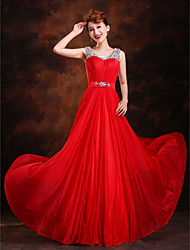 Formal Evening Dress A-line / Princess Scoop Sweep / Brush Train Silk with Beading / Crystal Detailing / Draping / Sash / Ribbon / Sequins