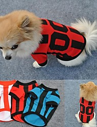 Cat Dog Shirt / T-Shirt Jersey Red Blue White Dog Clothes Summer Letter & Number Sports