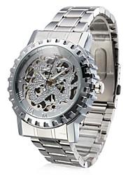 Men's Auto-Mechanical Silver Skeleton Steel Band Wrist Watch