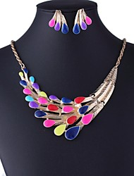 Women's Fashion Multicolor Peacock Jewelry Sets Including Necklace&Earring