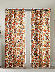 Two Panels  Contemporary Oil Painting Style Lovely Floral Curtains Drapes