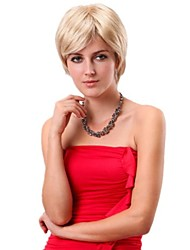 Women Straight Short Synthetic Side Bang Bobo Wigs Blonde with Free Hair Net