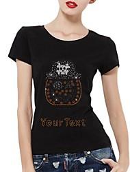 strass personalizado t-shirt da abóbora de Halloween crânio padrão de algodão das mulheres mangas curtas