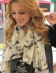 женские зимние Монро граффити шифоновый шарф