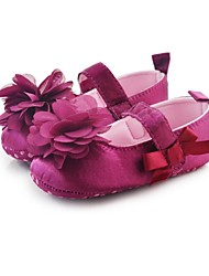 Girl's Flats Spring Summer Fall Crib Shoes Stretch Satin Casual Party & Evening Magic Tape Flower Pink Purple Red White