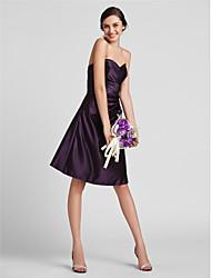 Lanting na altura do joelho de cetim vestido da dama - uva mais tamanhos / bainha petite / querida coluna