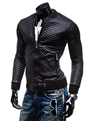 Men's Stand Collar Lattice Quilted Thickening Leather Casual Outerwear