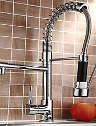 Contemporary Chrome Finish Single Handle Pull-out Kitchen Faucet