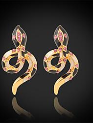U7®New Enamel Snake Earrings 18K Real Gold Plated Clear Austrian Rhinestone Stud Jewelry for Women