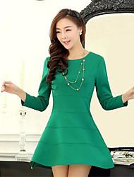 manga del vestido largo delgado de Milu mujeres