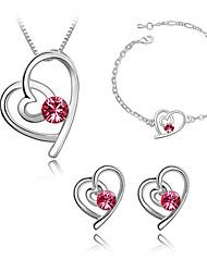 SARAH Women's Heart Shape Crystal Diamante Necklace Earrings And Bracelet Three Piece Set