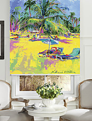 Abstract Oil Painting Style Summer Beach Roller Shade