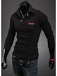 Monment Men's Lapel Neck Long Sleeve T-Shirt
