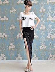 sencillo slim dividida cintura falda larga doll® de las mujeres rosadas