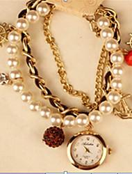 Мак женская элегантная имитация жемчужина браслет часы