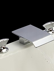 Chrome Finish Three Holes Two Handles Waterfall Widespread Bathroom Sink Faucet