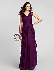 LAN TING BRIDE Floor-length Chiffon Bridesmaid Dress - Sheath / Column V-neck Plus Size / Petite with Sash / Ribbon / Ruching