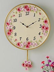 "HAOXINYI® 12""H Handicraft Modern Garden Resin Pansy Flower Wall Clock"