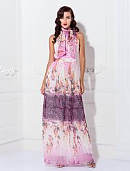 Prom / Formal Evening / Military Ball Dress - Plus Size / Petite Sheath/Column High Neck Floor-length Chiffon