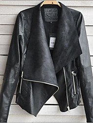 Faux Leather Turndown Collar Large Size Special Occasion/Casual PU Jacket(Mor