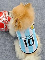 número 10 roupas esportivas Argentian para cães (tamanhos variados)