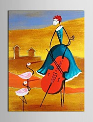 IARTS®Hand Painted Oil Painting People  Girl Playing Guitar with Stretched Frame