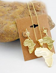 18K Gold Plated Map Of Africa Jewelry Set