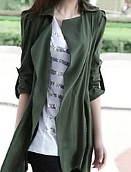 couleur solide Manteau grande taille