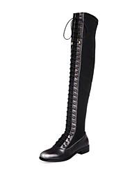 Damenschuhe runde Kappe Blockabsatz über das Knie Stiefel mit Spitzen-up