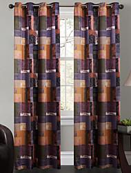 Un Panel Ventana Tratamiento De Diseño , Ajedrez Sala de estar Poliéster Material cortinas cortinas Decoración hogareña For Ventana