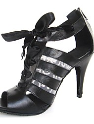 Non Customizable Women's Dance Shoes Latin Leatherette Stiletto Heel Black
