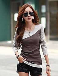 contraste de cores casuais t-shirt de algodão fino das mulheres ts