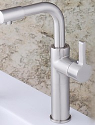 Contemporary Nickel Finish Single Handle Single Hole Brass  Bathroom Sink Faucet(Tall)