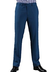 Men Royal Blue Wrinkle-Free Type Business Leisure Trousers