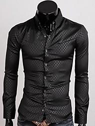 camisa de patrón de prueba de color sólido delgado-guarnición de los hombres manlodi