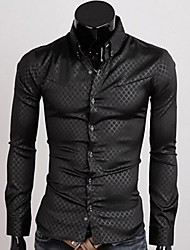 Manlodi Men's Solid Color Check Pattern Slim-Fitting Shirt